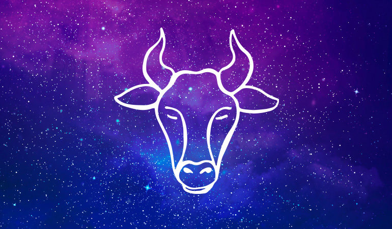 Taurus bull symbol on purple and blue starry background