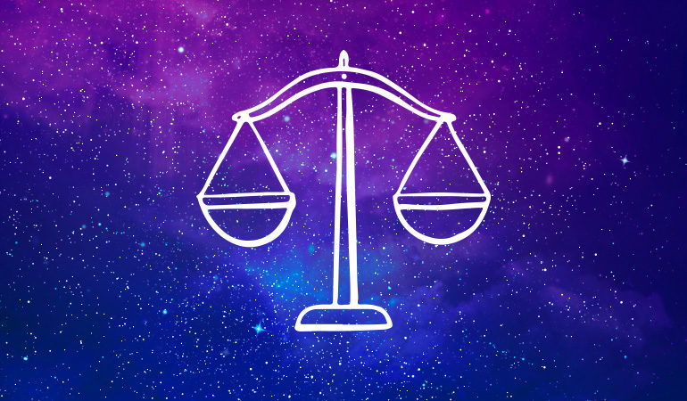 Libra scales symbol on purple and blue starry background