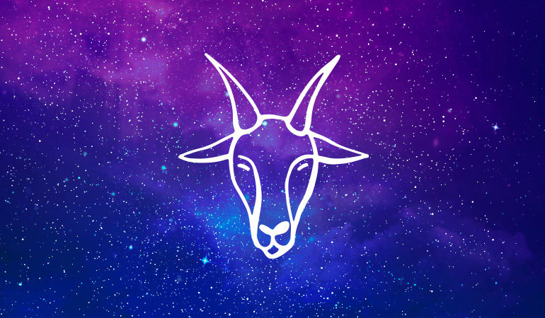 Capricorn goat symbol on purple and blue starry background