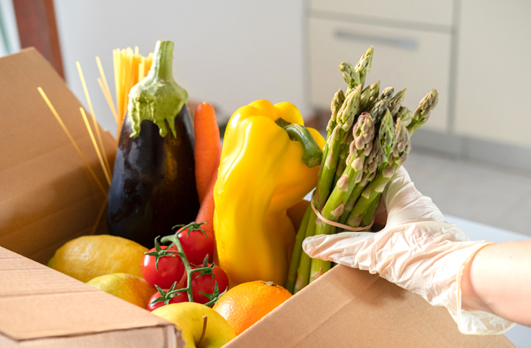 Donation box of fresh foods to help the environment and community