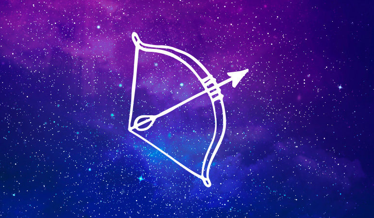Sagittarius archer symbol on purple and blue starry background