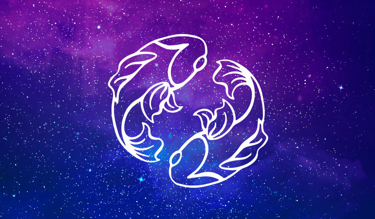 Pisces fish symbol on purple and blue starry background