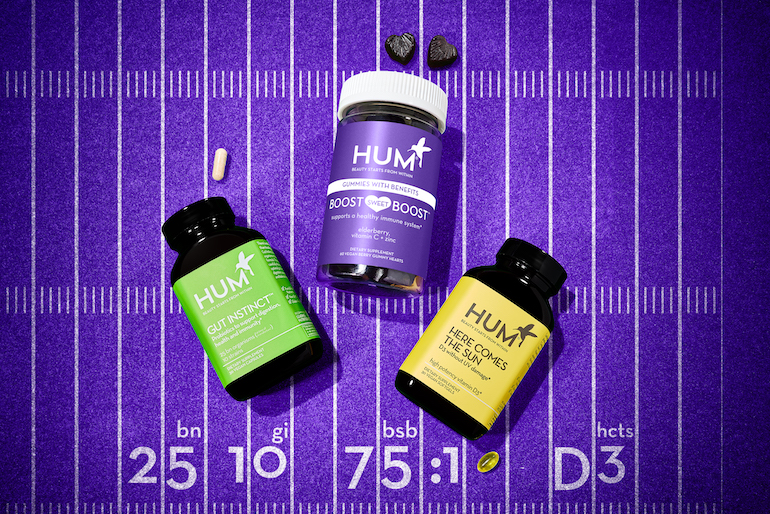 HUM supplements for immune support, including Boost Sweet Boost immunity gummies, Gut Instinct probiotics, and Here Comes the Sun vitamin D