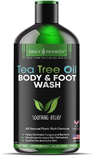 100% Natural Tea Tree Body Wash  Organic Tea Tree Oil Body Wash Made in USA  Cleansing Body Wash Fights off Jock Itch & Nail Fungus  Body Wash Treats Athletes Foot, Ec-zema, Ring Worm, Odor