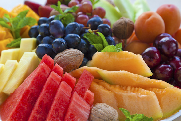Colorful fruits and veggies on a brunch spread