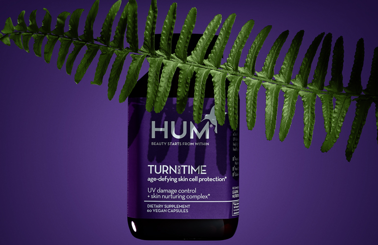 HUM Nutrition's Turn Back Time polypodium leucotomos supplement covered by the fern
