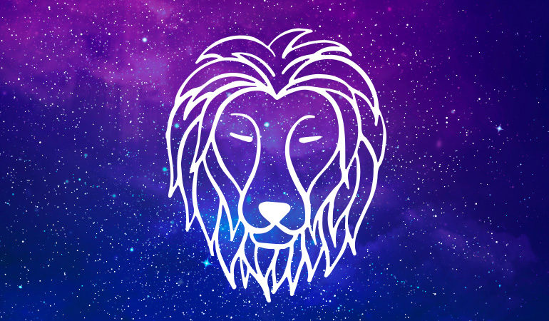 Leo lion symbol on purple and blue starry background