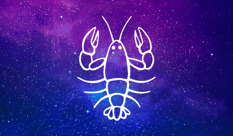 Cancer crab symbol on purple and blue starry background